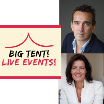 """Peter Frankopan and Ngaire Woods next to the cream and red """"Big Tent! Live Events!"""" logo"""