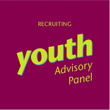 'Recruiting youth Advisory Panel' written in yellow letters against a pink background