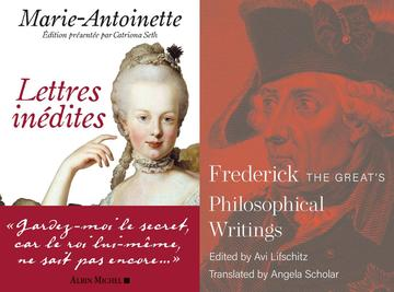 2 book covers, one showing Marie Antoinette, the other showing a red Frederick the Great