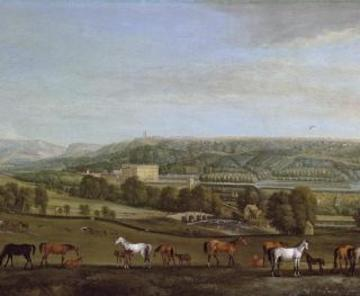 a panoramic view of chatsworth house and park by pieter tillemans 1684 1734