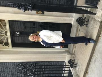 Photo of Arlene outside number 10 Downing Street