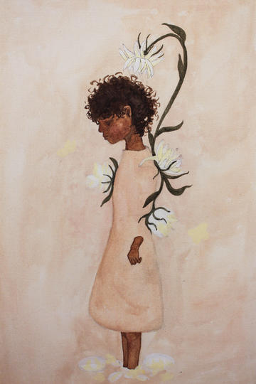 Bonds Painting, woman in white dress with flowers growing behind her
