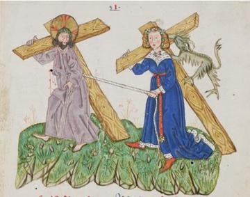meieval image of chris and woman in blue carrying crosses