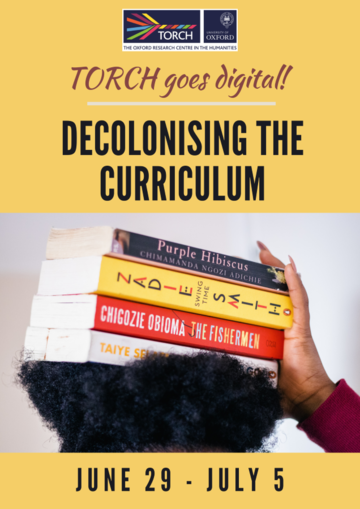 Decolonising the Curriculum poster, yellow background, Woman holding books on her head.