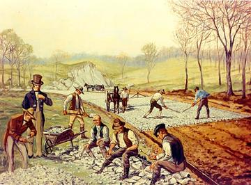 The road to progress? Workers lay the first North American 'macadam' road in Maryland, US, 1823. Carl Rakeman/Wikipedia