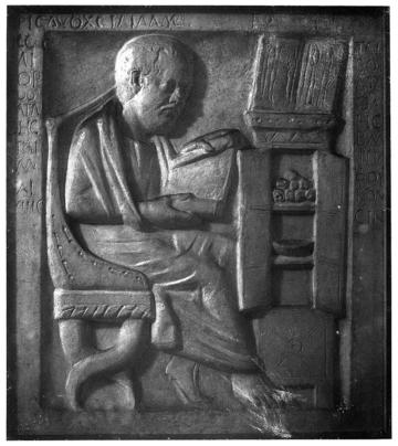 greco roman physician in his study plaster cast in w h m m wellcome m0001579