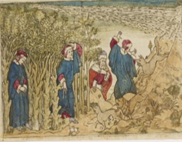 painting showing dante being attacked by beasts