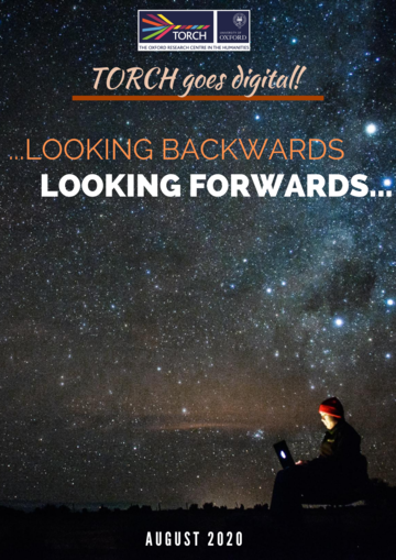 Text reads: Looking Backwards, looking forwards, galaxy background, person on laptop