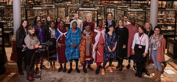Group of people standing in the Pitt Rivers Museum