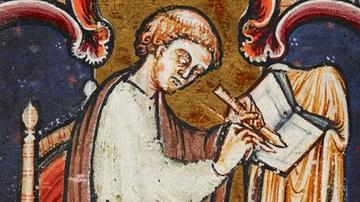 A painting of Saint Bede sat scribing in the foreground with a dark blue and gold tapestry hanging in the background.