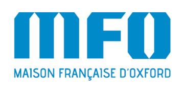 Maison Francaise D'Oxford blue logo on white background