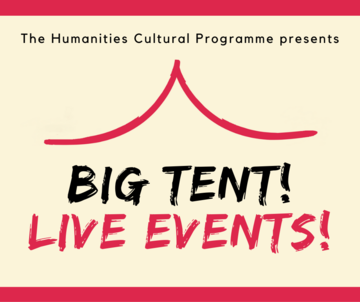 """""""Big Tent! Live Events!"""" logo on cream and red background"""