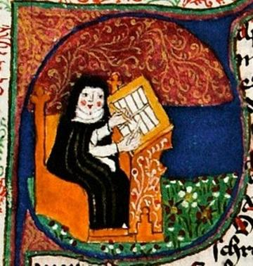 painitng of nun wirting in manuscript
