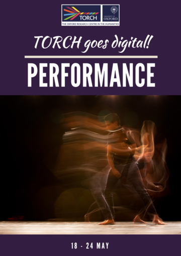 Performance Poster - purple background, man dancing on stage