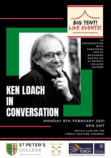 Black and white image of Ken Loach on a black and green background, with event details