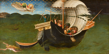 painting of angel greeting St Nicholas on a ship