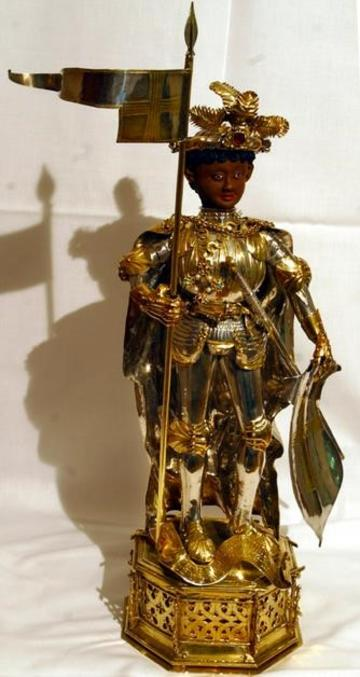 gold and wood statuette of St Maurice in armour