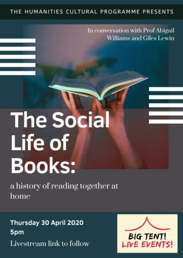 """The Social Life of Books"" on a shadowy blue, red background with a pair of hands holding up an open book"
