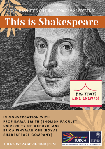 """""""This is Shakespeare"""" in an orange banner above a pencil portrait of Shakespeare"""