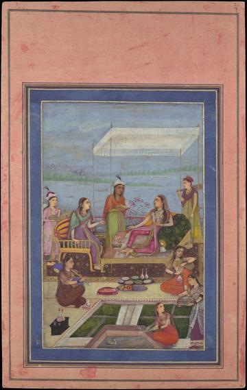 thumbnail princess entertaining on balcony mughal mid17th century met