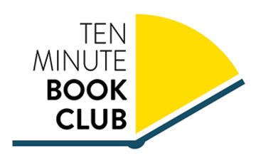 The Ten Minute Book Club logo, image of book and clock