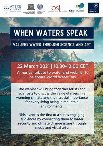 Poster for When Water Speaks: Valuing Water Through Science and Art. Background is a photo of a lake in front of mountains.