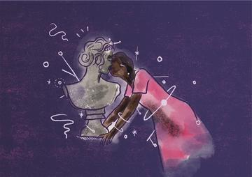 woman in pink dress kissing a marble statue of Andromeda against a deep purple background