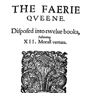 Depiction of the front page of 'The Faerie Quene' with an ornamental drawing of a stylised lily flower.