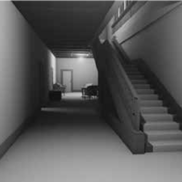 Image of hall and staircase of the Villa Stiassni as displayed in the video game sequence.