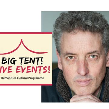 Image of James Attlee looking into the camera, alongside a logo for Big Tent Live Events programme
