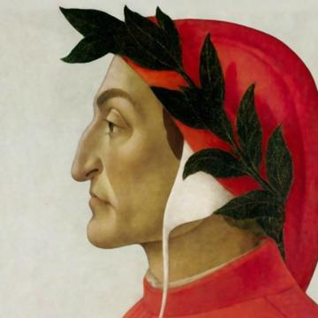 profile of man in red hood and robe with laurel wreath around head