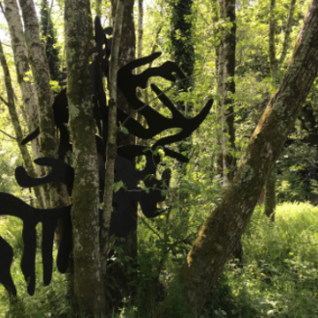 An image of a tree with black artistic shapes coming out of it. There is grass on the floor and more trees in the background