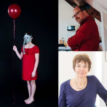 Sally Shuttleworth and John Terry next to a person with a gas mask in a red dress holding a red balloon