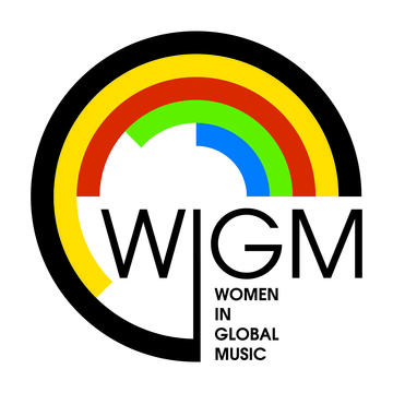A black 3/4 circle with smaller yellow, red, green and blue inner circles and the letters WIGM and Women in Global History