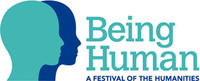 Illustration of the silhouettes of two overlapping heads, one light blue, one dark blue. To the right, there is large blue text reading 'Being Human' and smaller text reading 'A festival of the humanities'