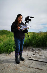 A young Yup'ik young woman standing on a wooden platform consulting a vegetation guidebook with lush tundra vegetation in the background.