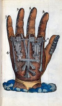 A cross section image of a hand showing steel for hands and cogs to move them