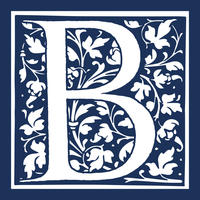 Blue and white logo with the letter B in the centre surrounded by illustrations of leaves and vines