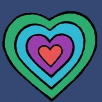 coloured heart - red in the middle, then purple, then blule, then green