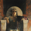 painting of a queenly figure sitting in marble chair with heavily jewelled crown