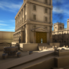 computer genrerated image of front of Roman building and forecourt in brown colours