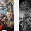 painting of angels coming down to men on left, black and white version with mathmatical lines over it on the right