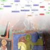picture of religious themed wall paintings overlays with networking diagram
