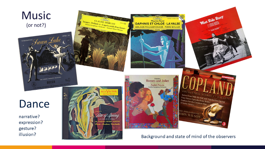 Dance as Grace Seminar illustration 'Music' and 'Dance' depicts seven CD cover illustrations of Swan Lake, Romeo and Juliet, West Side Story, Daphnis et Chloe,Rite of Spring etc.